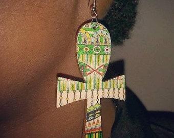 Printed Ankh Earrings