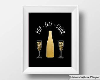 Champagne Pop Clink Fizz 1920s Style Digital Download Printable