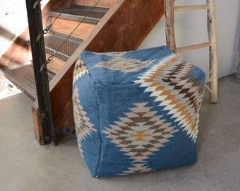 Blue Navajo Pouf/ Floor Cushion
