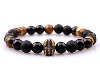 Men's Bracelet, Onyx Bracelet, Tiger Eye Bracelet, Gemstone Bracelet, Beaded Bracelet, Mens Jewelry, Gift for Him, Helmet Bracelet