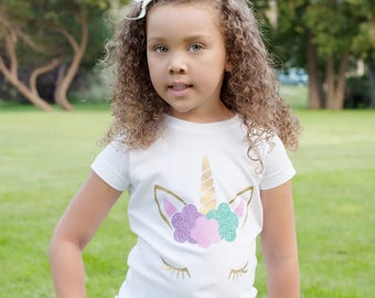 Unicorn Face Glitter Shirt or Bodysuit - (0-24 months)(2T-16) Girls - first birthday, party, horn, bday, magical, toddler, magic, lover