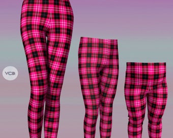Matching Outfit MOMMY and ME LEGGINGS for Girls Pink and Black Tartan Plaid Baby Leggings Toddler Leggings Gift for Wife Mothers Day Gift
