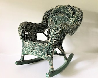 Child's Wicker Rocking Chair, Antique Rocker, Chippy Green Rocking Chair, Early 20th Century Rocking Chair