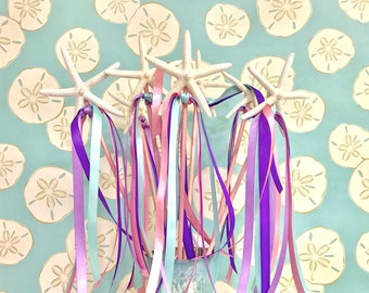 Starfish Wand with Pearl and Ribbons - Choose Princess or Little Mermaid Colors - Mermaid Party Wand/Beach Photo Prop/Beach Birthday