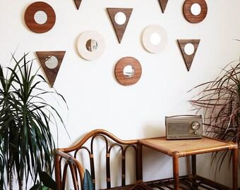 Wall Mirror Round Minimal Modern Sapele