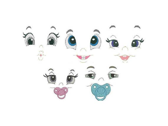 Baby Face happy cute Embroidery Machine Designs Instant