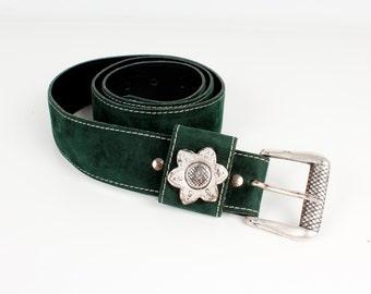 Vintage Suede Leather Belt Dark Green Faux Leather Belt Vintage Romantic Belts