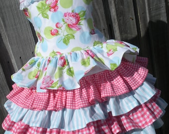 Ready to Ship Custom Boutique Tanya Whelan Ruffled Dress  Girl Will fit Size 4 or 5