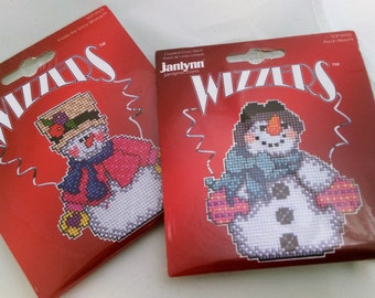 Cross Stitch Kit Snowman Janlynn Wizzers Sugar Plum Express Freida the Snow Woman or Ascot Albert