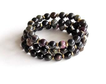 Tourmaline Boho Bracelets ~ FREE SHIPPING ~ Tourmaline Bracelet Stack Ombre Bracelets Layered Bracelets Yoga Bracelets Mala Bracelets Gift