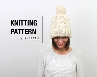 Knitting Pattern | Super Bulky/Weight 6 Cable Knit Pom-Pom Hat | THE STOCKHOLM Instant Download