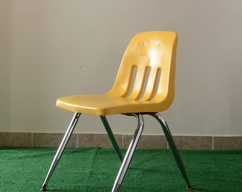60's Virco Martest mustard yellow schoolhouse molded plastic desk chair
