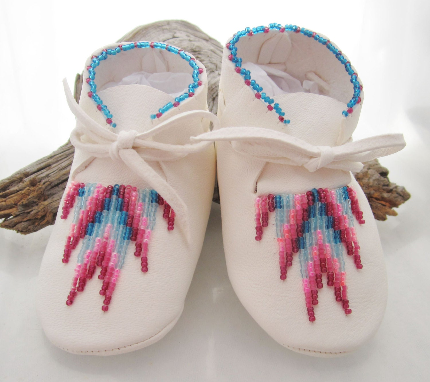 Hand Beaded White Leather Baby Moccasins and Soft Soled Shoes