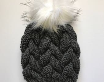 Braided Cable Beanie // Gray
