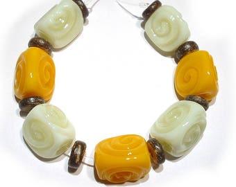 Handmade Glass SRA Lampwork Beads, Marigold and Cream  Wedges