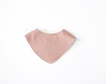 Baby Bib in Rose Linen Cotton