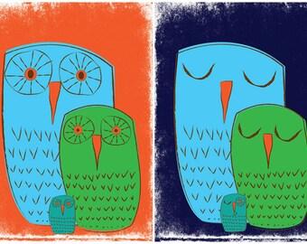 Owl Family Art Print Set Giclees - We 3 Owls Art Prints - Nursery Kids Room Wall Art by strawberryluna