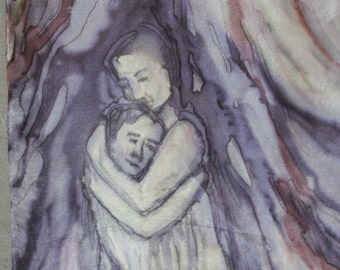 """Figural silk painting/ wall hanging """"Hug"""". Art with hugging people with special energy. Purple slate blue grey wall art/ silk scarf 14 x 51"""