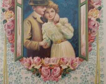 Loving Greetings Young Couple In Window Embossed  Postcard