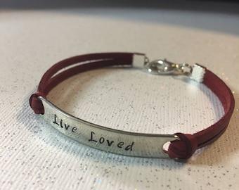 Live Loved, leather bracelet, charm bracelet, friendship bracelet, hand stamped, Gift for her, inspirational bracelet, spiritual jewelry