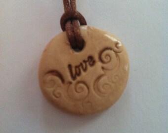 Polymer Clay Stamped Clay Pendant Love Christmas Gift Stocking Stuffer Secret Santa Teacher Gift