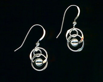 Dangle Beaded Sterling Silver Wire Circle Earrings Hoop Hammered Wire Jewelry Chainmaille Earrings