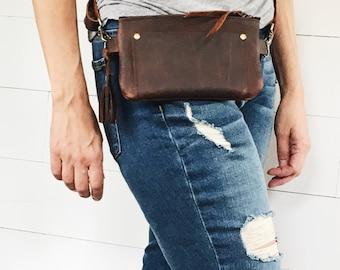 leather fanny pack, leather hip bag, brown leather, belt bag, travel pouch, festival fanny pack, travel hip bag, fanny pack