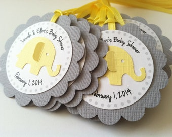 20 Yellow and Grey Elephant Personalized Tags.  Perfect for Baby showers or birthday parties.  Safari Party.  Favor Tags