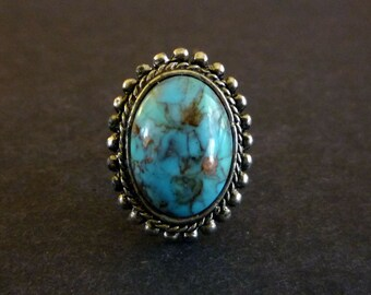 Vintage Faux Turquoise Adjustable Cocktail Ring