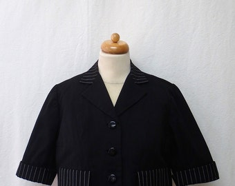 1950s / 60s Vintage Cotton & Linen Jacket / Black and White Cropped Jacket