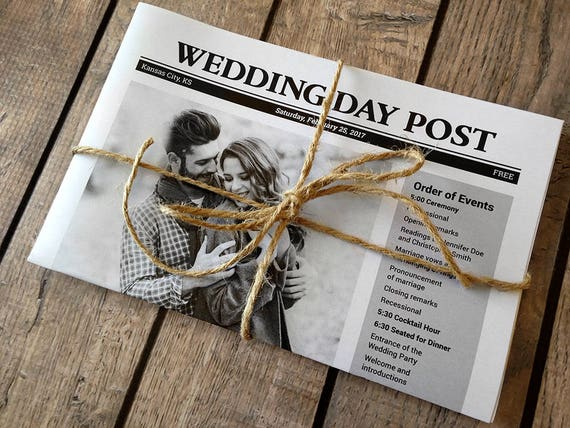 Newspaper Wedding Programs Printed Fun program idea for