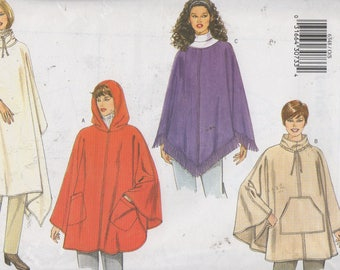 Misse's Poncho Sewing Pattern, 2 Lengths, with and without hood, Butterick 6348,  One Size fits All, Uncut