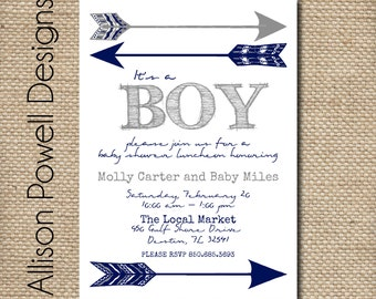 Boy Baby Shower Invitation,  Tribal Printable, Blue, Arrow Baby Shower Invites