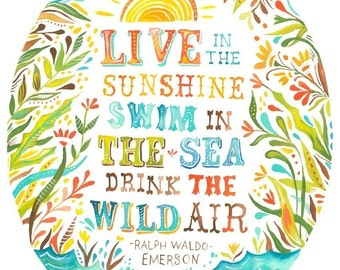 Wild Air Print | Watercolor Quote | Inspirational Wall Art | Ralph Waldo Emerson | Lettering | Katie Daisy | 8x10
