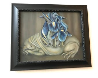 Original framed oil painting 17 x 14: 'Vessel' (Surinam Toad and Violet Iris Flowers)