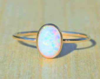 Stacking Ring, Choice of Opal Color, Gold Opal Ring, Opal Ring, Gold Ring, Delicate Gold Ring,  Stacking Opal Ring,