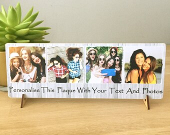 "11x4"" Personalised Plaque with Photos & Text Best Friend Friendship Birthday gift present NEW"