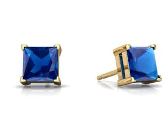 14Kt Yellow Gold London Blue Topaz Princess Cut Stud Earrings