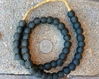 Ghana Glass Beads: Grey/Black (12x13mm)