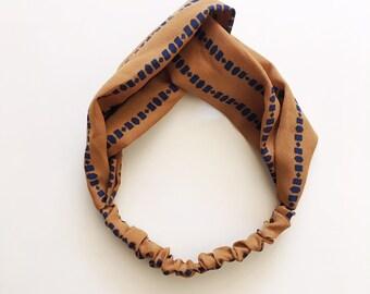 Phyllis Fabric Headband - Turban headband - Earth Dots - Boho headband - Womans headband - Adult headband - Dotted fabric headband