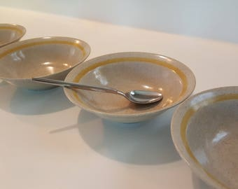 set of 4 bowls Statastone Japan - mid century dishes - speckled ceramic bowls - vintage cereal bowls - yellow retro bowls - stoneware bowls
