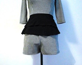 Monochrome Check Co-Ord Top&Shorts Set ∞ One of a Kind ∞ Upcycled ∞ Eco-Fashion ∞
