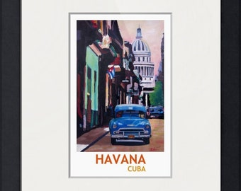 Cuban Oldtimer Street Scene in Havana Cuba with Buena Vista Feeling Retro Style II - Limited Edition Fine Art Print