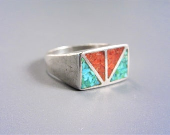 Vintage Sterling Navajo Turquoise Coral Inlay Ring Size 9