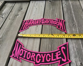 Biker Rocker Patches Set New and Free shipping Black and Pink