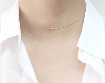Diamond Choker Necklace, Minimalist Necklace, Diamond Necklace, .03 ct .05 ct Natural Diamond Choker, 14k Gold Choker Diamond Necklace