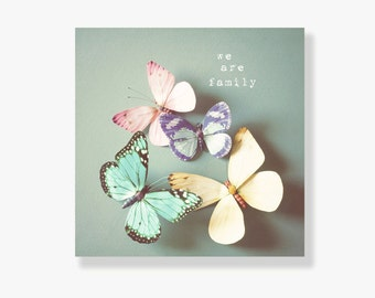 Whimsical pastel butterfly photo canvas, nursery decor, kids wall art, typography wall art, love message, pink, blue, yellow - We are family