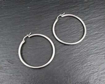 """Sterling Silver 1.3"""" Hoop Earrings   Vintage Women's Medium Hoop Earrings"""