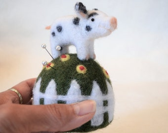 Teacup Pig on a Grassy Mound Pincushion, needle felted sculpture