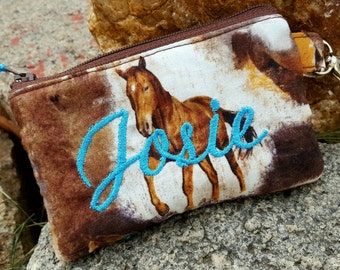 Horse Coin Purse, Small Zipper Wallet, Personalized Coin Purse, Girls Coin Purse, Boys Coin Purse, Ear Bud Pouch, Lunch Money Pouch